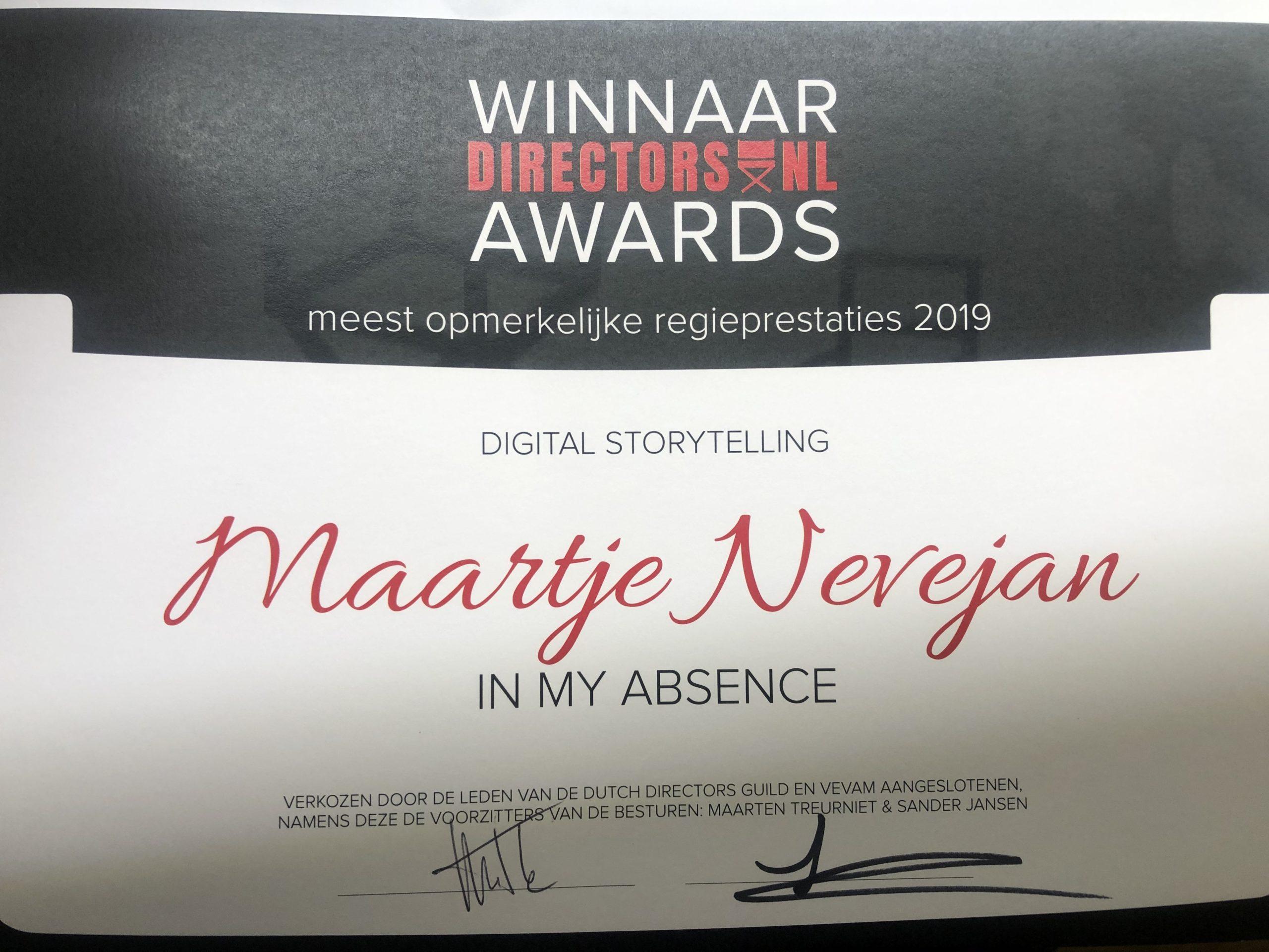 Winner Dutch Directors Guild Award Interactive 2020