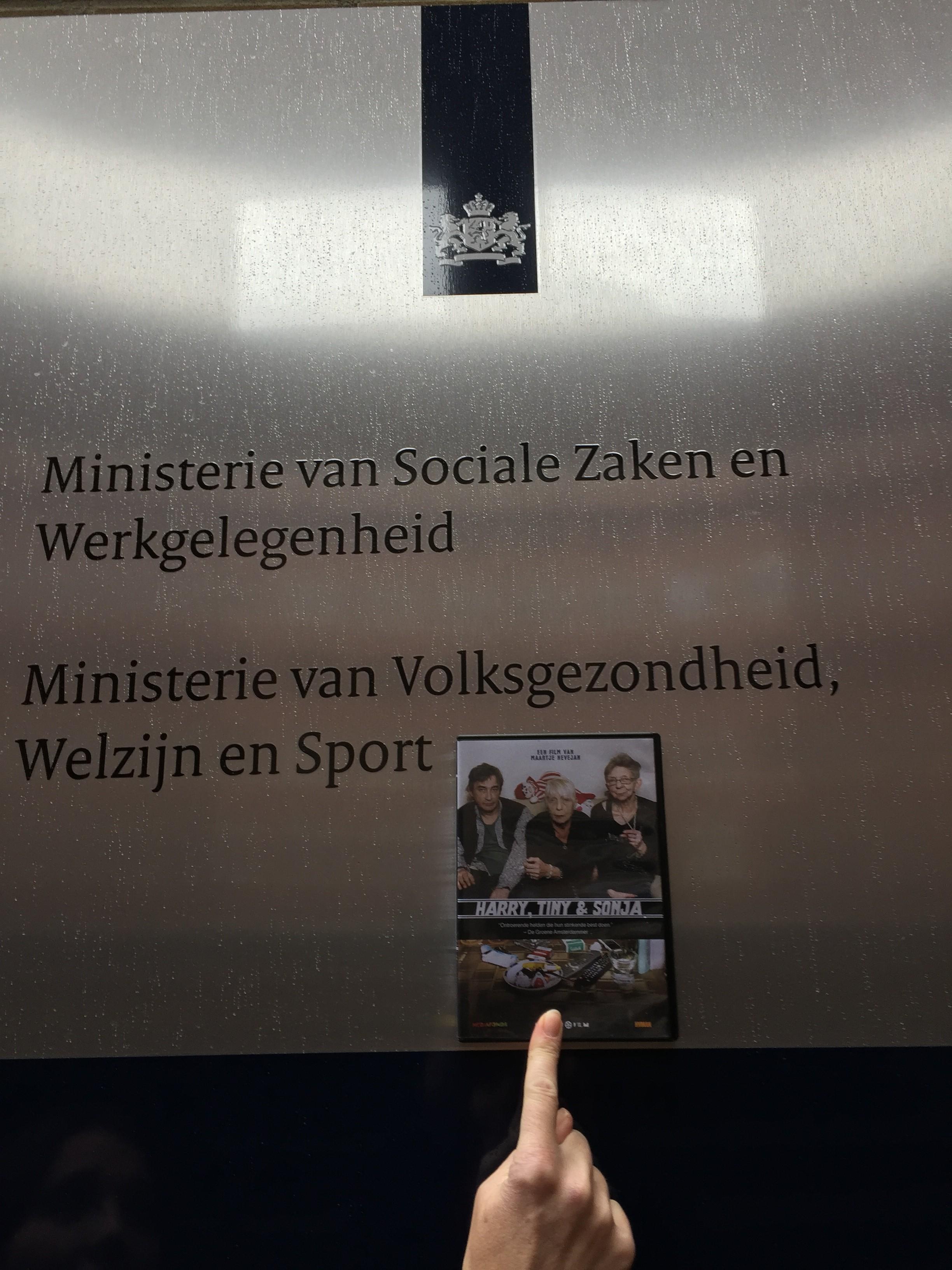 Screening at the Ministry of Health, of Nevejan's film ' Harry, Tiny en Sonja' bij WVC .