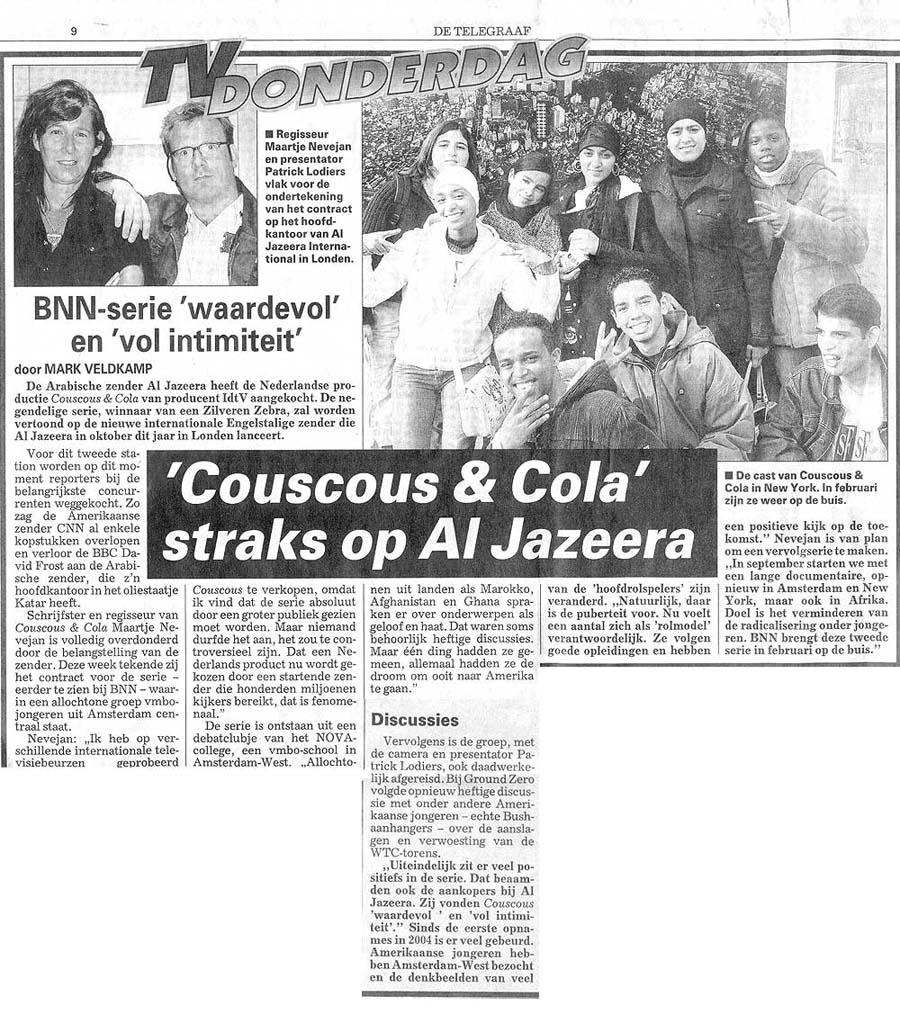 Couscous & cola in de Telegraaf-telegraaf-0706