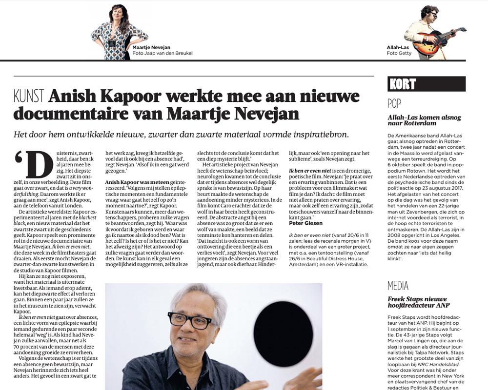 Interview Anish Kapoor & Maartje Nevejan Volkskrant